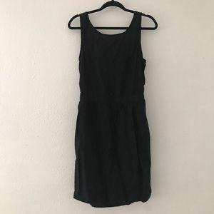 Black linen tie back dress with pockets